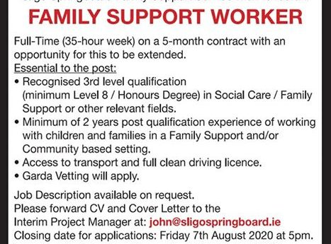 Job opportunity at Sligo Springboard  | 35 Hours a week Family Support Worker